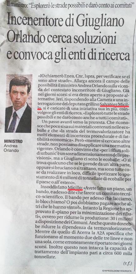 Repubblica 14.9.2013 su interpellanza urgente termovalorizzatore