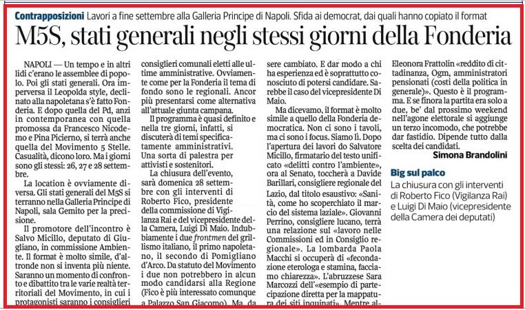Tre giorni a Napoli articolo Il Corriere del Mezzogiorno del 19 9 2014